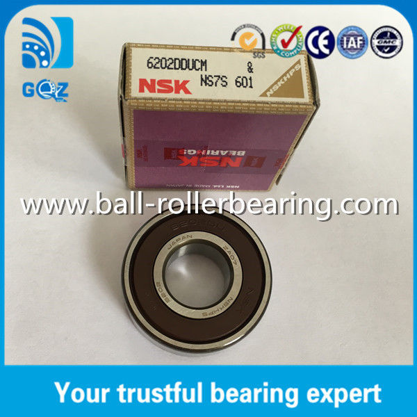 Rubber Seal Chrome Steel Deep Groove Ball Bearing NSK 6202DDU 6202DDUCM