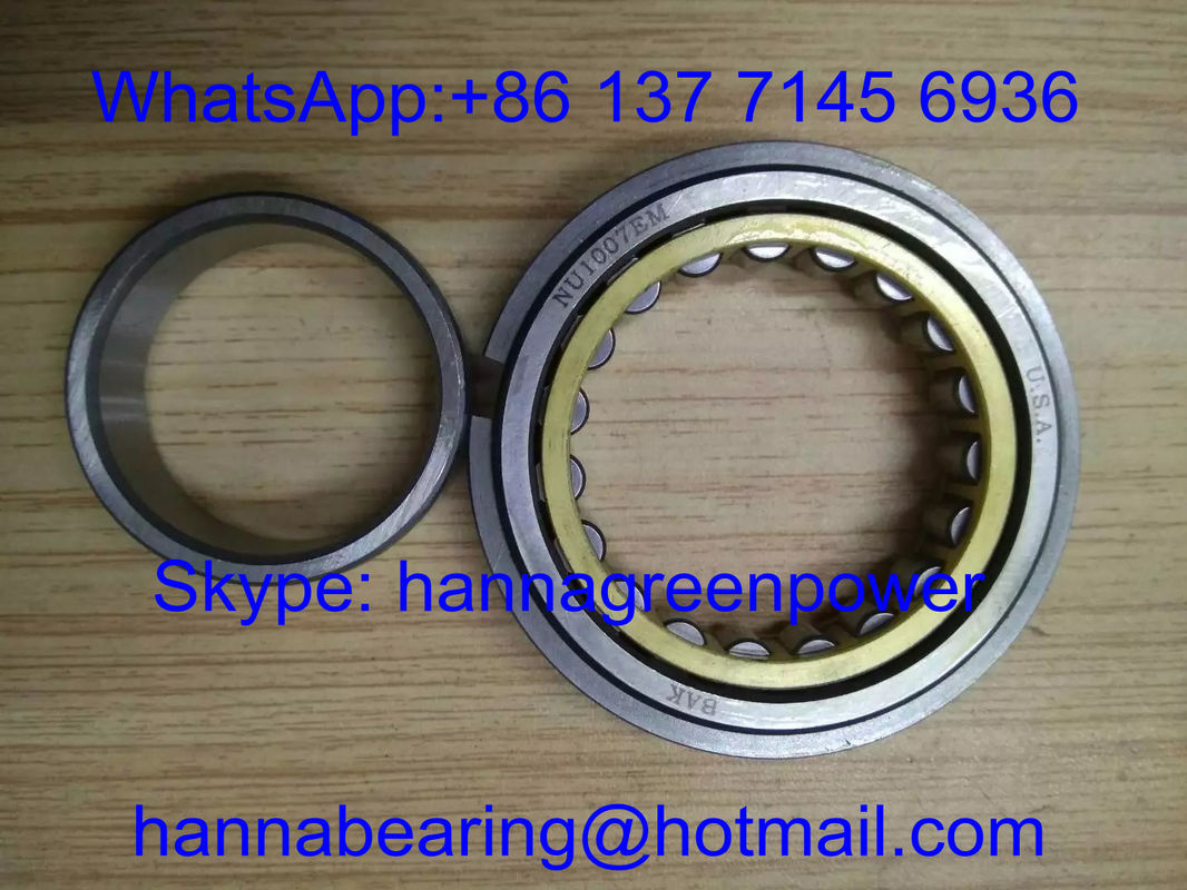 NU1007EM Brass Cage Cylindrical Roller Bearing , NU1007M Single Row Roller Bearing 35*62*14mm