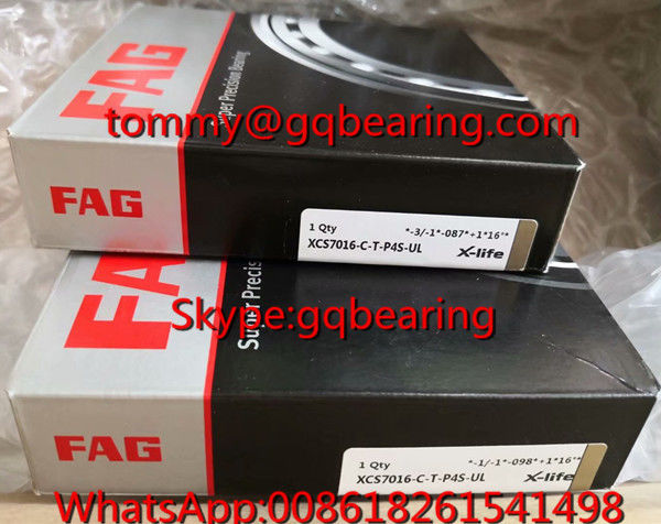 Ceramic Material Balls FAG XCS7016-C-T-P4S-UL High Speed Rubber Sealed Angular Contact Ball Bearing